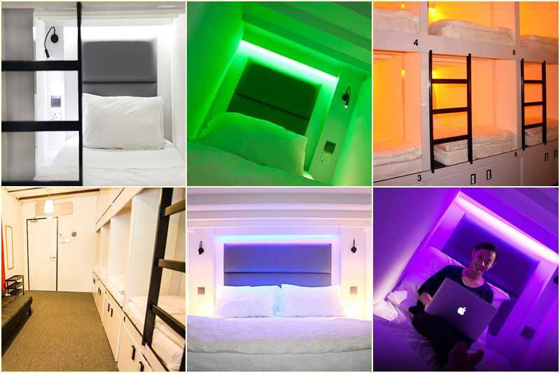 Beberapa tipe kapsul tidur di Wink Hostel