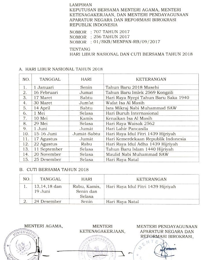 Official Information on National Holidays and Joint Leave 2018