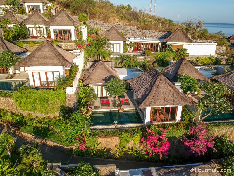 The Griya Villa and Spa from aerial photography