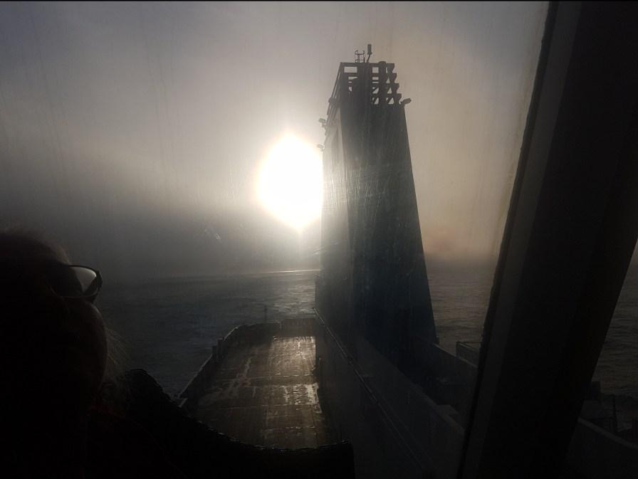 The sea mist hiding the sun on our trip to Wellington on the Interislander.