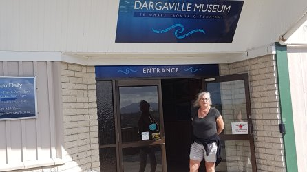 Sarah at the entrance to the Dargaville museum