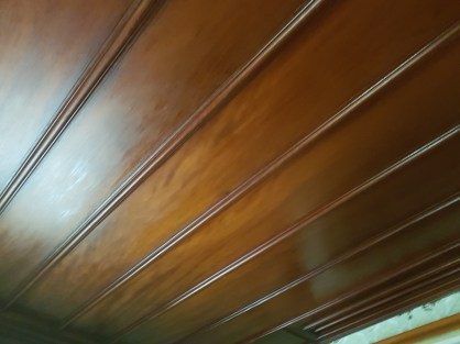The beautiful varnished ceilings