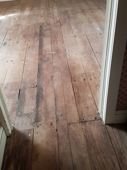 Floorboards cut in two