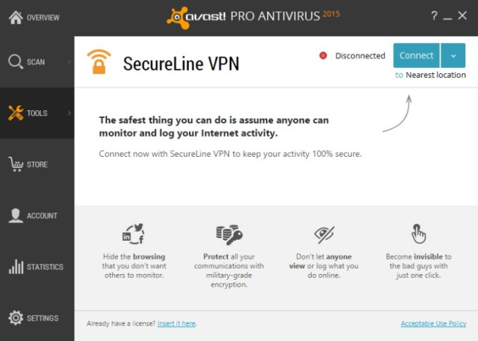 Avast Secureline VPN license file 2018