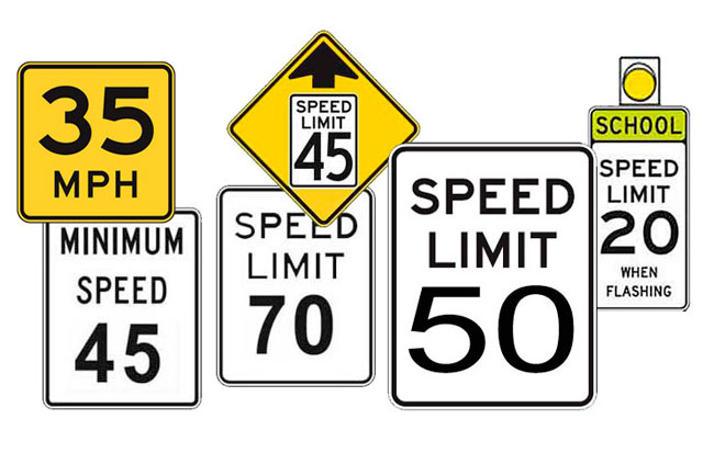 Speed limit signs - licenseroute