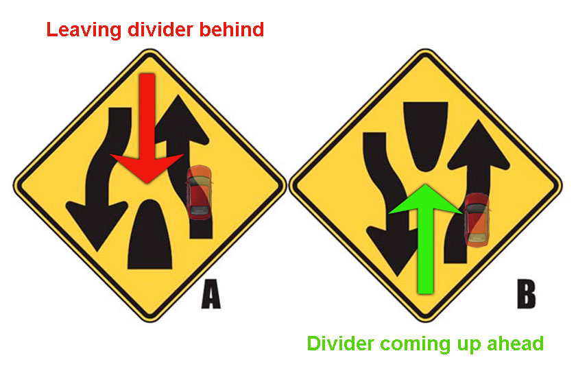Learn to spot the difference of divide highway ahead and divided highway ends