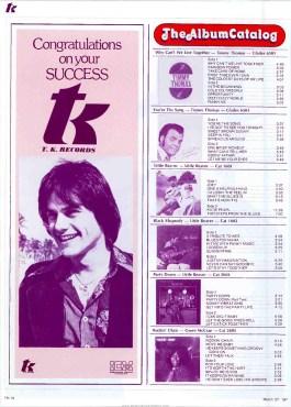 TK Records Album Catalog – Part II – Cash Box (1976)