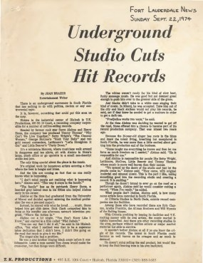 Underground Studio Cuts Hit Records – Fort Lauderdale News (1974)