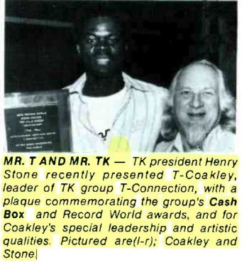 T. Coakley from T-Connection Collects Awards from Henry Stone – Cash Box (1978)