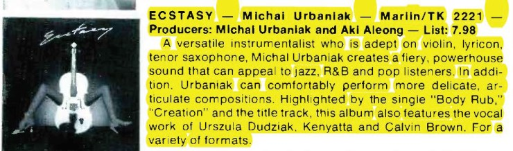 "Michael Urbaniak ""Ecstasy"" – Marlin Records – Cash Box (1978)"