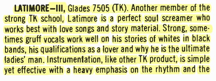"Latimore – III – Glades Records – ""Perfect Soul"" – BILLBOARD (1975)"