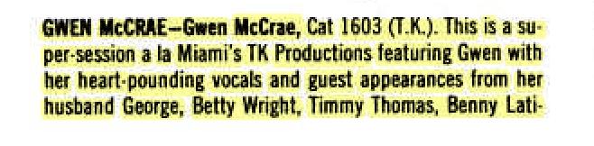 Gwen McCrae – Cat Records – BILLBOARD (1974)