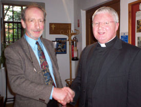 Dr Warwick Rodwell with the Very Revd Adrian Dorber, Dean of Lichfield