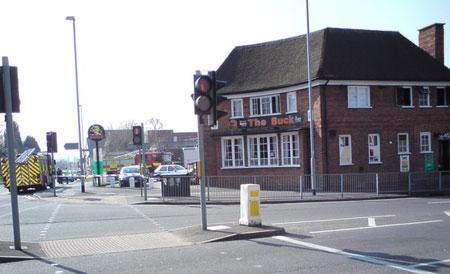Firefighters cordon off The Buck pub. Pic: Sam Ackroyd