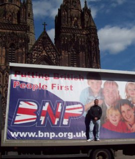 Alex Sproule with the BNP 'truth truck' outside Lichfield Cathedral
