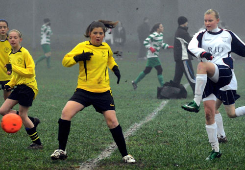 Alison Livermore (right) completes her hat-trick for Lichfield Diamonds