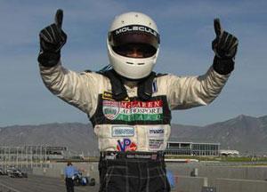 Adam Christodoulou celebrates his win