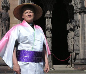 Canon Wealands Bell who is playing Nanki-Poo in The Mikado at Lichfield Cathedral