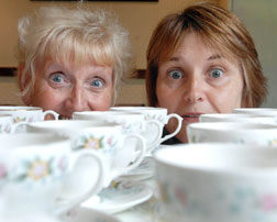 Lyn Shiel and Jayne Tooth get ready for St Giles Hospice's first ever Mammoth Coffee Morning Week