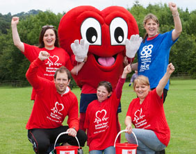 Staff from Midlands Co-op's Lichfield head office with the British Heart Foundation mascot