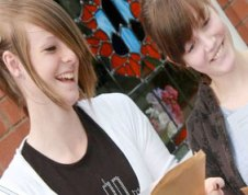 Claudia Deeley and Clare Finlan with their results