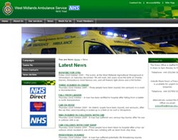 The new-look West Midlands Ambulance Service website