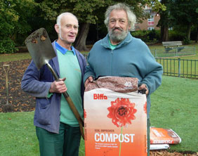 Lichfield District Council gardeners Dave Coton and Vic Sones with the new compost