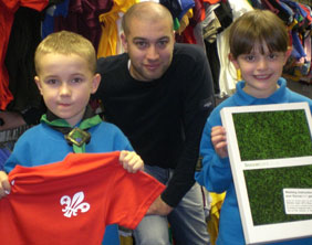 David Hitchman of Soccerprint.co.uk with Jake Kirkwood and Isabella Acton