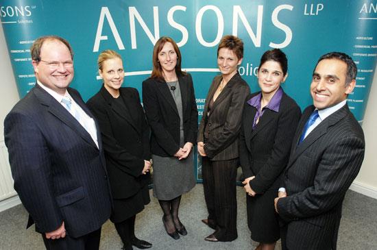 Partners at Ansons Solicitors Simon James, Marie Tisdale, Susan Davies, Sarah Popp, Hilary D'Cruz and Jas Singh