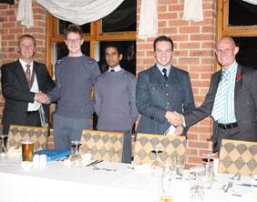 Stuart Milner (Round Table Chairman), Cpl Will Manser, Cadet James Gardner, Flt Lt Chris Kelly, Chris Kendall (Round Table Member)