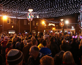 The lights go on in Market Square. Pic: Will Tinsdeall