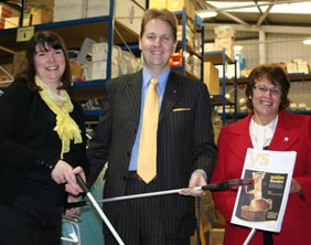 County Councillor Matthew Ellis with Debbie Hill, Alzheimer's Café Co-ordinator, and Daphne Sharp, Project Co-ordinator of the MASE group
