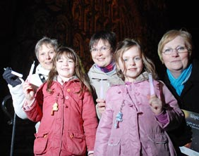 Sue Slocombe, Hannah Elson, Clare Elson, Abigail Elson and Glynise Ball at the Light Up A Life service