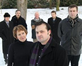 Cast members John Phillips, Win Churchill, Maurice Allden, Stefan Dufaye, Ian Parkes, Rose Bodger and Dave Stonehouse