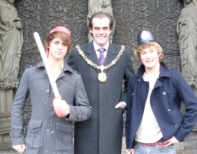 Choral Scholars Matthew Barnaville and Alexander Dance with the Sheriff of Lichfield Simon Price