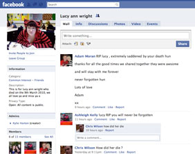 The Facebook page set up in memory of Lucy Anne Wright