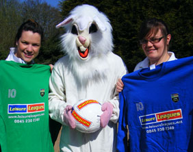 Gemma Perry and Claire Woodcock from Leisure Leagues with the Easter bunny