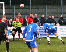 Chris Horton scores for Chasetown against Mickleover Sports. Pic: Dave Birt