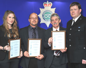 Katie and Clive Ferneyhough, neighbour Mr Patrick Powell, Chief Supt Ian Grant
