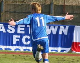 Ben Jevons celebrates his goal against Goole AFC. Pic: Dave Birt