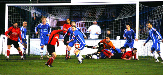Chasetown defend their goal in numbers against Mickleover Sports. Pic: Dave Birt