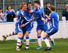 Chris Horton celebrates his goal against Mickleover Sports. Pic: Dave Birt