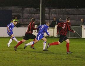 Dean Perrow makes it 1-0 against Leek Town. Pic: Dave Birt