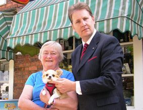 Peggy Needham with her dog Lucy and Cllr Matthew Ellis
