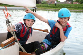 Ross Cotton and Aaron Robinson set sail at Stowe Pool