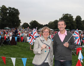 Lichfield District Council's chief executive Nina Dawes and leader Mike Wilcox join the crowds in Beacon Park