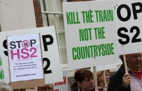 HS2 protesters in Lichfield