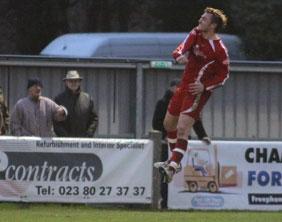 Ben Jevons jumps for joy after making it 3-1. Pic: Dave Birt