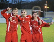 Chasetown's goal heroes celebrate. Pic: Dave Birt