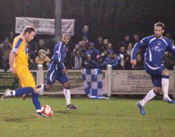 Paul Connor drives home Mansfield Town's opening goal. Pic: Dave Birt